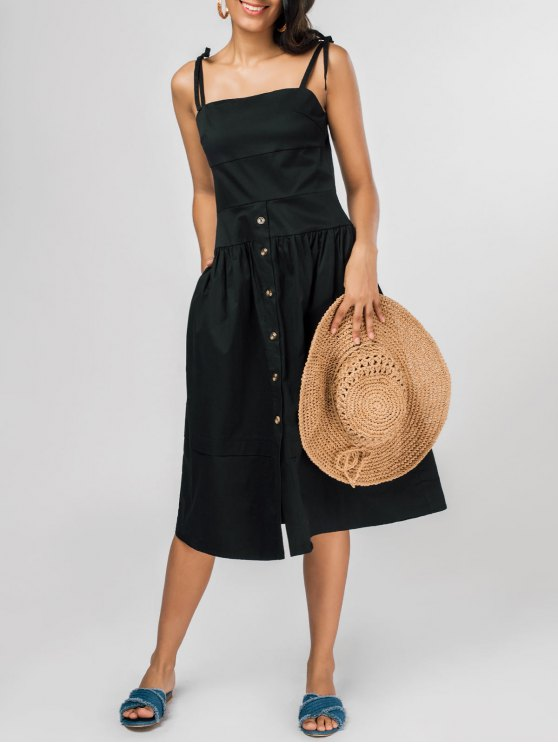 2018 Shoulder Ties Fit And Flare Midi Dress In Black Xl Zaful