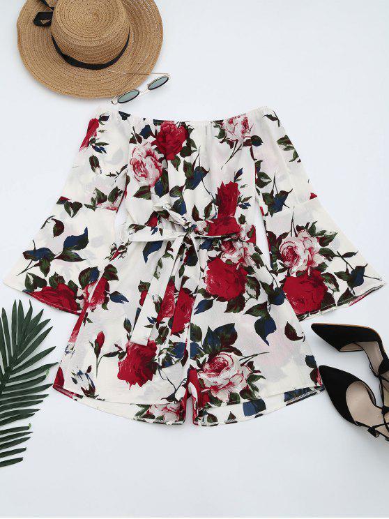 shop Floral Print Flare Sleeve Belted Romper - FLORAL XL