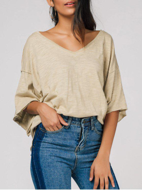 trendy Raw Edge V Neck Oversized Tee - LIGHT CAMEL ONE SIZE
