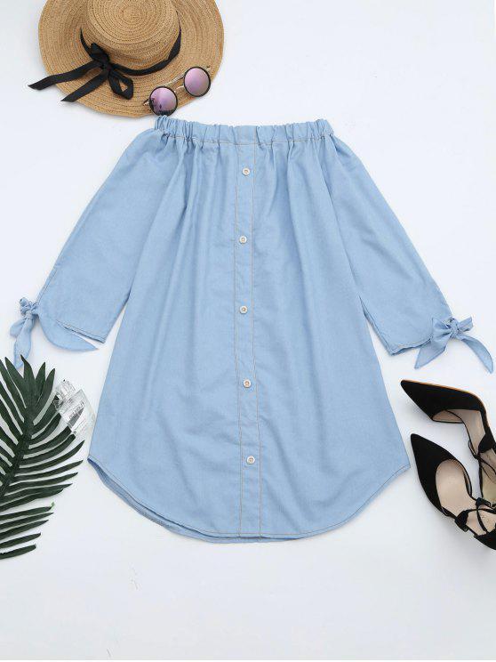 best Off The Shoulder Button Embellished Dress - LIGHT BLUE XL