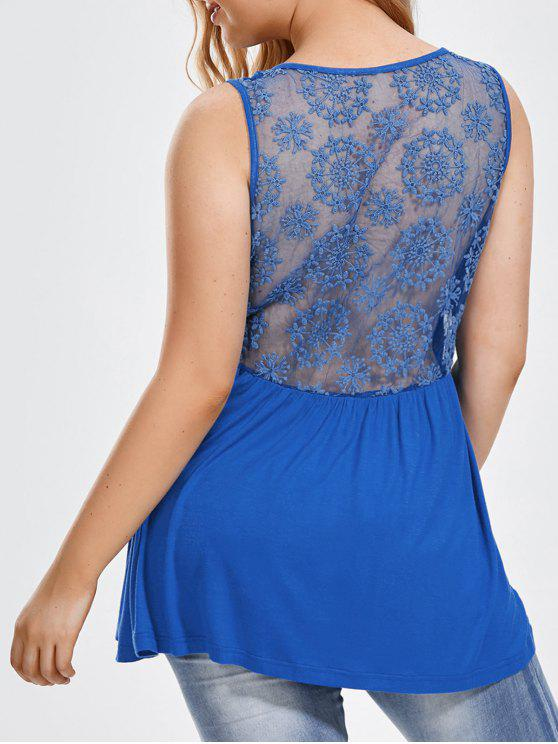 fashion Plus Size Back Sheer Embroidered Sleeveless Top - BLUE 2XL