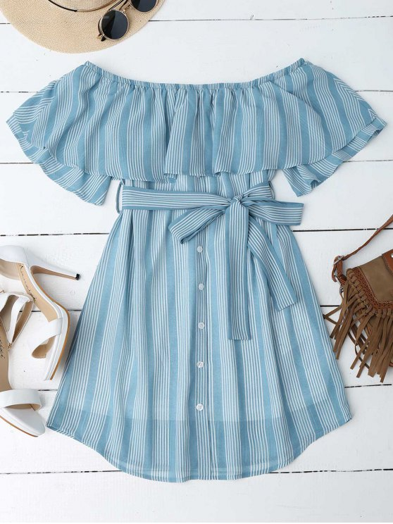 outfits Multi Stripe Off The Shoulder Dress - BLUE M