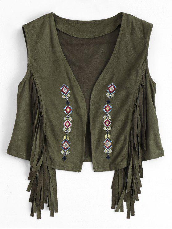 online Embroidered Faux Suede Fringed Waistcoat - ARMY GREEN M