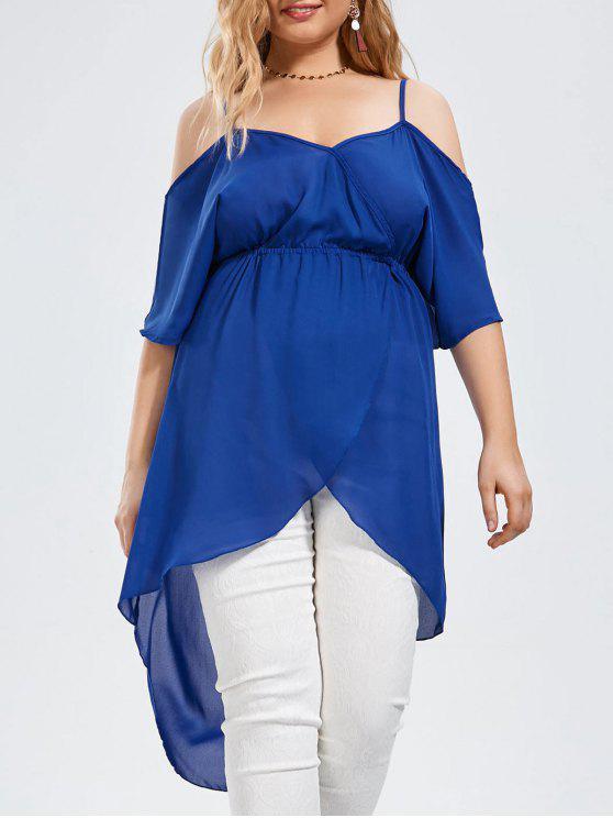 Plus Size offene Schulter lange hohe niedrige Chiffon Top - Blau 3XL