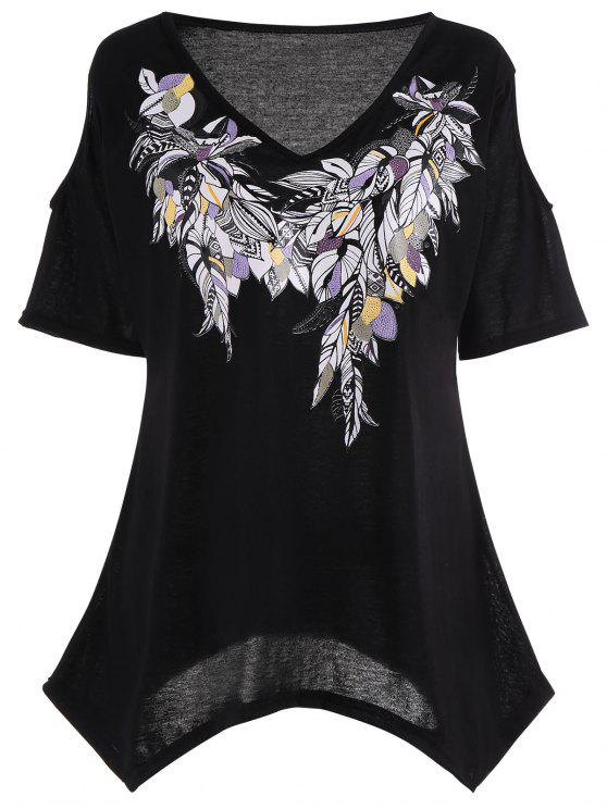 trendy Cold Shoulder Feather Print Plus Size Top - BLACK 4XL