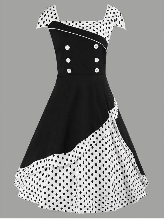 فستان متزلج ميدي البولكا نقطة كلاسيكي الحجم الكبير - أبيض 4XL