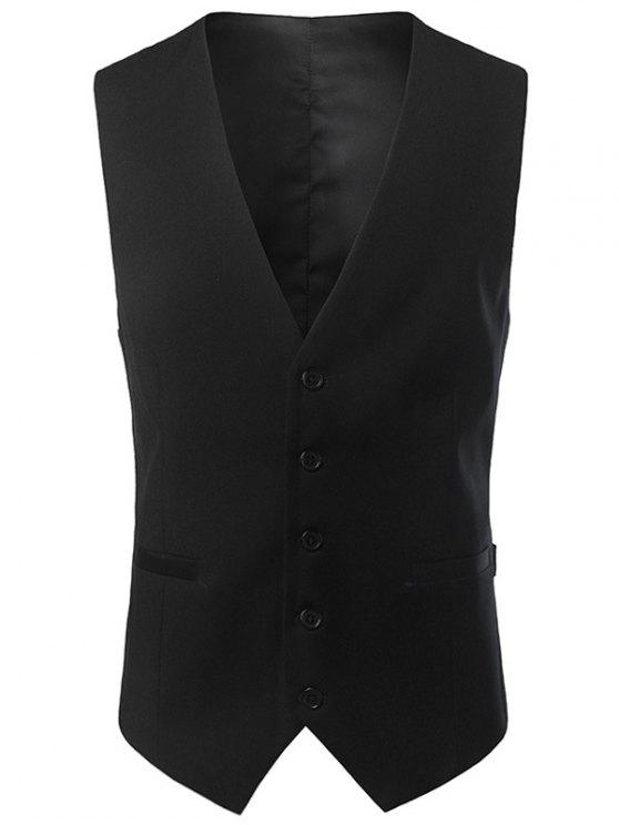 معطف الصدرية غارق الرقبة - أسود 4XL