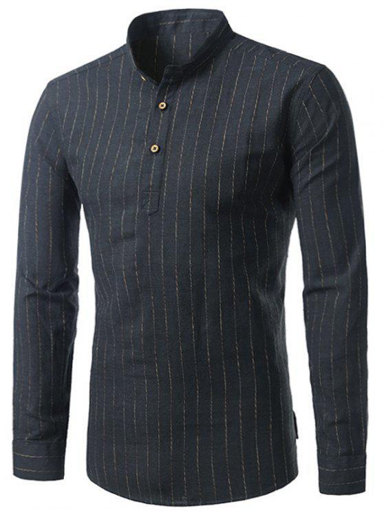 طويلة الأكمام القطن الكتان عمودي شريط قميص - أسود 42