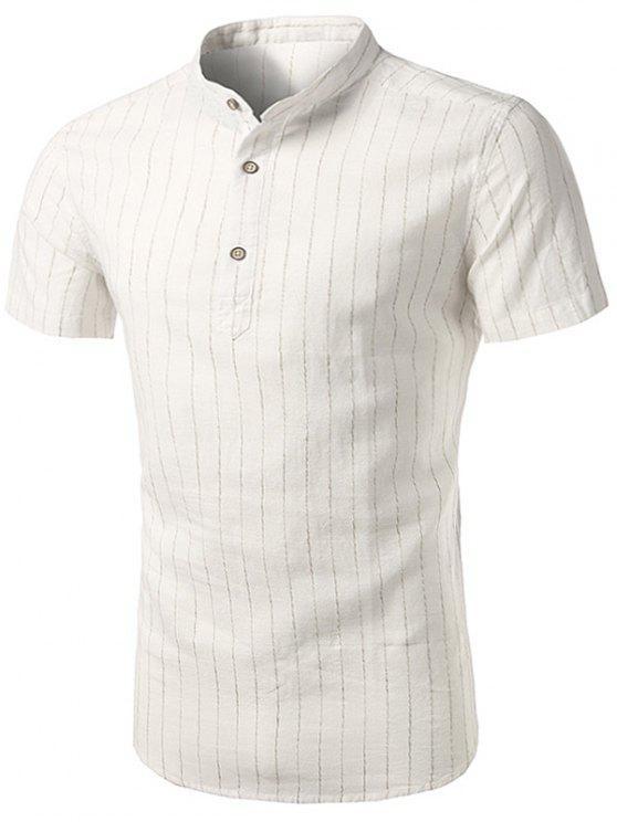 الوقوف طوق القطن الكتان عمودي شريط قميص - أبيض 43