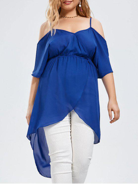 online Plus Size Open Shoulder Long High Low Chiffon Top - BLUE 2XL