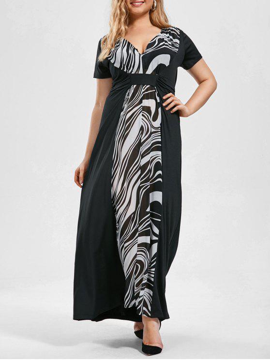 33% OFF] 2019 Plus Size Monochrome Empire Waist Maxi Dress In BLACK ...