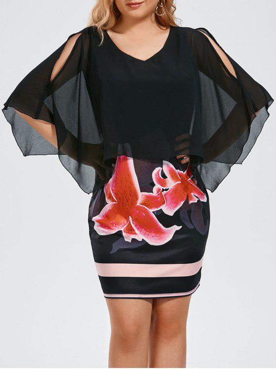 فستان الحجم الكبير طباعة الازهار انقسام الأكمام - أسود 2XL