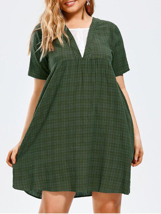 Plus Size Half Button Plaid Smock Dress BLACK PALE GREEN