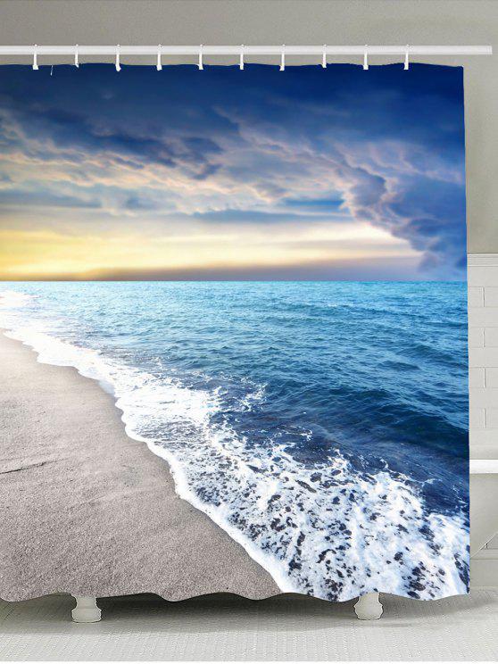 شاطئ الغروب الخلابة ماء دش الستار - الضوء الأزرق W59 بوصة * L71 بوصة