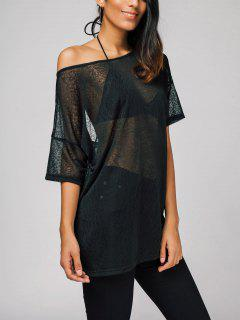 Oversized Semi Sheer Tee - Black M