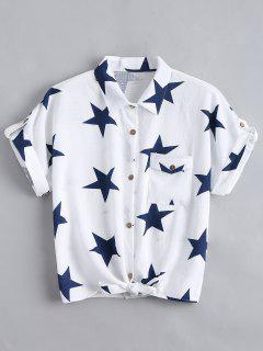 Button Up Star Pattern Pocket Shirt - White M