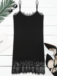 Lace Panel Knitted Cami Dress - Black