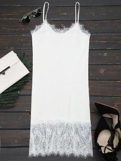 Robe Blanche En Tricot Et En Dentelle - Blanc