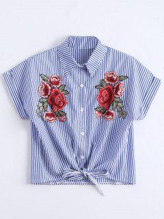 Blume Patched Gestreiftes Knopf Voll Bluse - Streifen  L