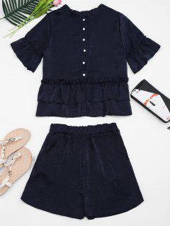 Flare Sleeve Ruffled Top And Shorts Set - Purplish Blue S