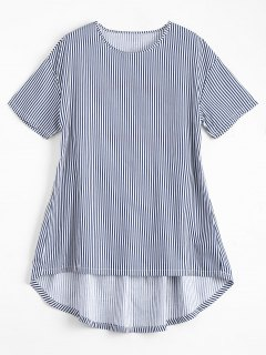 Striped Embroidered Back High Low Top - Blue And White S