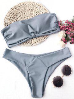 Knot Padded Bandeau Bikini Set - Gray M