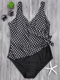 Draped Dotted Plus Size One Piece Swimsuit - White And Black Xl