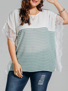 Plus Size Stripe Lace Panel Dolman Sleeve Chiffon Top - Light Green 2xl