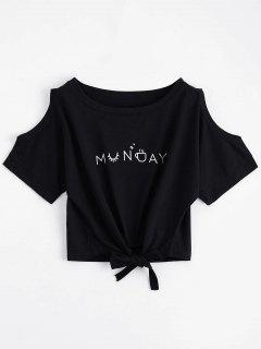 Letter Bowknot Cold Shoulder Top - Black