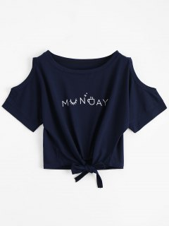 Letter Bowknot Cold Shoulder Top - Purplish Blue