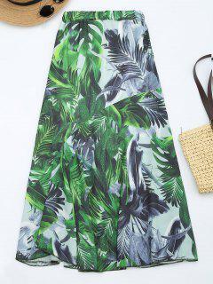 Jupe Maxi Imprimée Feuilles à Taille Haute - Vert M