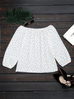 Aus Der Schulter Polka Dot Swing Bluse - Weiß L