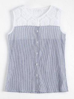 Lace Panel Sleeveless Striped Shirt - Stripe M