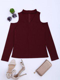 Cold Shoulder Cut Out Ribbed Knitted Tee - Deep Red Xl