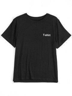 T-shirt Manches Courtes à Motif Lettre - Noir L