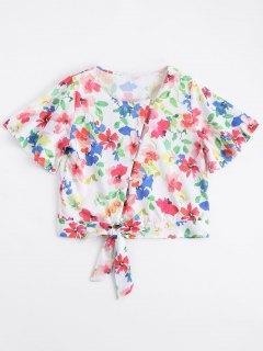 Bowknot Button Up Floral Top - Floral L