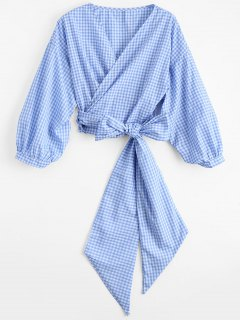 Checked Bowknot Wrap Top - Checked S