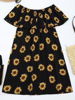 Vestido Con Volantes De Impresión De Girasol - Floral L