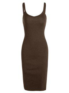 Side Slit Knitted Cami Sheath Dress - Brown