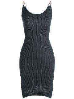 Vestido Acanalado De Tejido Con Tirante Fino Con Abertura Lateral - Gris Oscuro