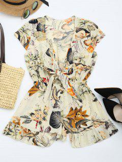 Floral Leaves Print Plunging Neck Romper - Multi M