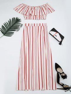 Separate Striped Top And Slit Skirt Suit - Red Stripes Xl