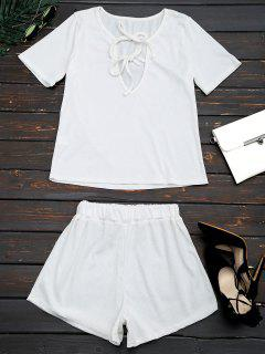 Cut Out Top And Shorts Two Piece Suit - White Xl