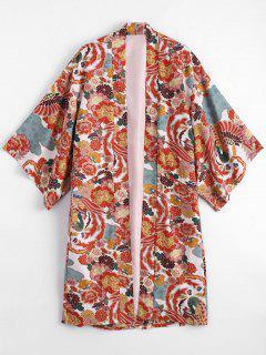 Open Front Floral Kimono Blouse - Floral M