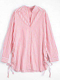 Side Lace Up Longline Striped Shirt - Stripe L
