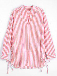 Side Lace Up Longline Striped Shirt - Stripe M