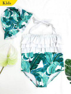 Tiered Leaf Print Kid Swimwear With Swimming Cap - Green 5t