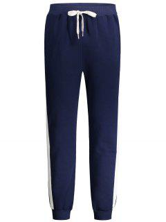 Drawstring Waist Two Tone Jogger Pants - Purplish Blue M