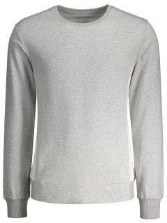 Camiseta De Algodón De Dos Tonos De Panel Lateral - Gris Xl