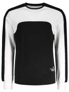 Two Tone Panel Cotton Sweatshirt - Black Xl